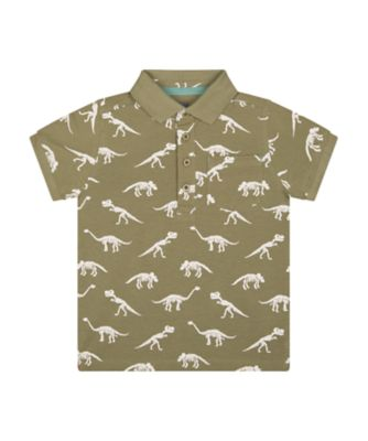 Mothercare Easy Vibes Allover Print Dinosaur Short Sleeve Polo T-Shirt