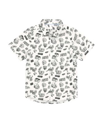 Mothercare Sport Pop White Printed Short Sleeve Shirt
