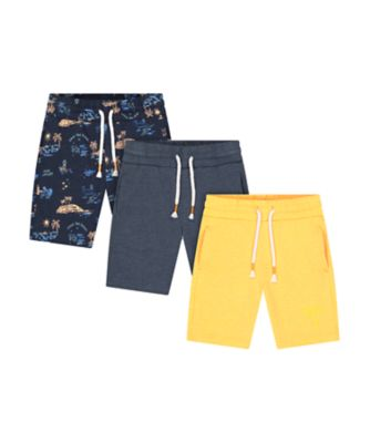 Mothercare Dream Surfer Navy Yellow Allover Print Shorts - 3 Pack