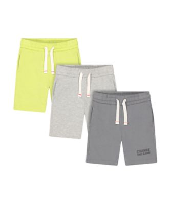 Mothercare Sport Pop Lime, Grey And Grey Marl Shorts - 3 Pack