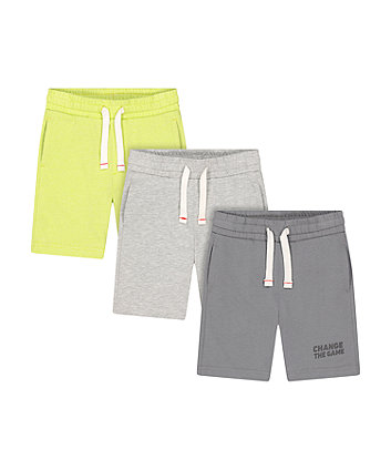 Mothercare Lime, Grey And Grey Marl Shorts - 3 Pack