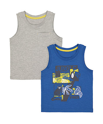 Mothercare Jungle Vibes Vest T-Shirts - 2 Pack