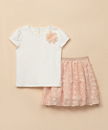 Mothercare Peach Flower Skirt And T-Shirt Set