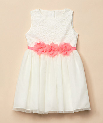 Mothercare White Corsage Belt Occasion Dress