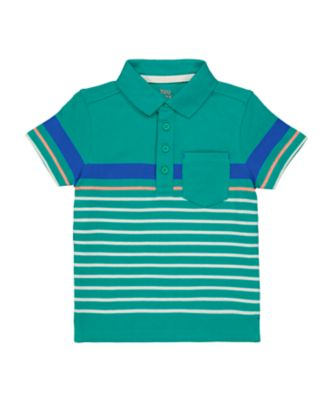 Mothercare Be Wild Green Stripe Short Sleeve Polo T-Shirt