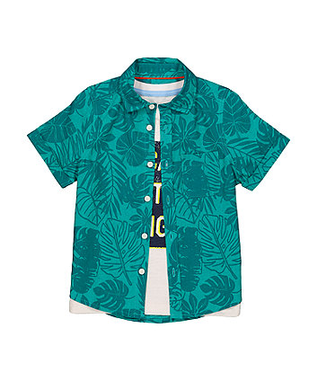 Mothercare Green Palm Shirt And T-Shirt Set