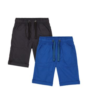Mothercare Be Wild Black And Blue Poplin Short - 2 Pack