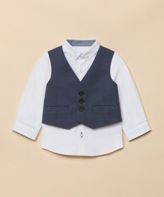 Mothercare Special Collection AW Navy Waist Coat And Long Sleeve Shirt