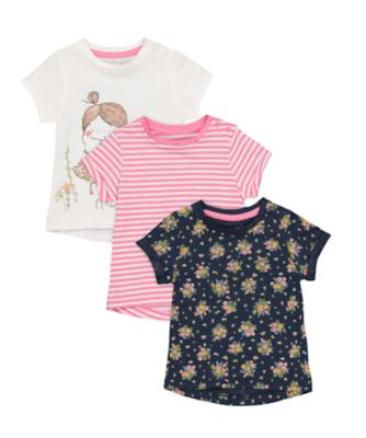 Mothercare Gypsy Flower White, Stripe And Ditsy Print T-Shirt - 3 Pack