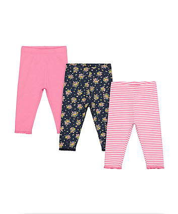 Mothercare Floral And Striped Leggings - 2 Pack