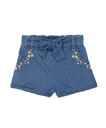 Mothercare Embroidered Denim Shorts