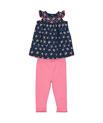 Mothercare Ditsy Floral Dress And Leggings Set
