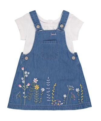 Mothercare Gypsy Flower Denim Embroideried Pinny Set
