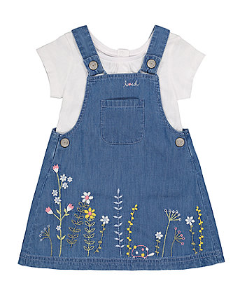 Mothercare Denim Embroidered Pinny Dress And T-Shirt Set