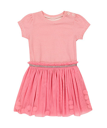 Mothercare Pink Pom Pom Twofer Dress
