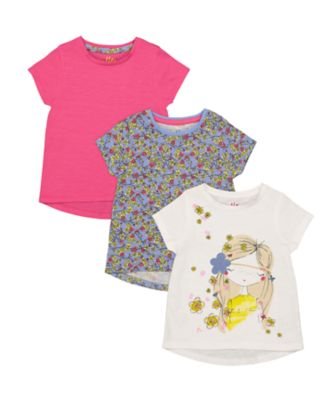 Mothercare Oriental Bloom White, Ditsy And Pink Short Sleeve T-Shirt - 3 Pack