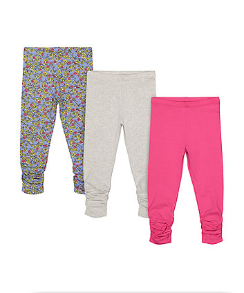 Mothercare Floral, Pink And Grey Ruched Leggings - 3 Pack