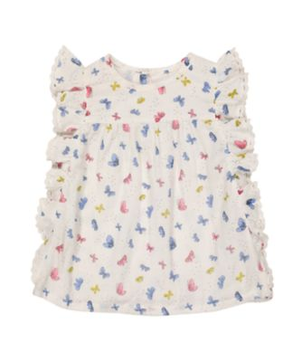 Mothercare Oriental Bloom Butterfly Allover Print Frill Blouse