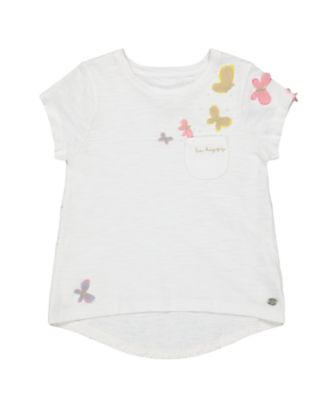 Mothercare Oriental Bloom Blue Butterfly Short Sleeve T-Shirt With Pocket