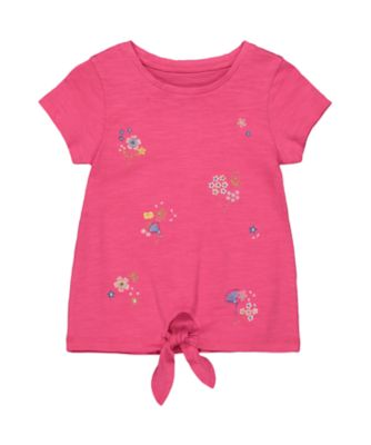 Mothercare Oriental Bloom Pink Embroidieried Tie Front Short Sleeve T-Shirt