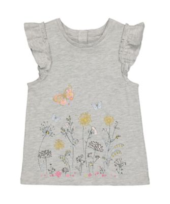 Mothercare Oriental Bloom Grey Floral Border Short Sleeve T-Shirt