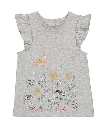 Mothercare Grey Floral Border-Print T-Shirt