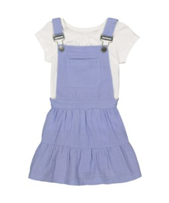 Mothercare Oriental Bloom Blue Pinny Dress with Short Sleeve T-Shirt