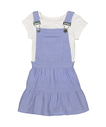 Mothercare Blue Pinny Dress And T-Shirt Set