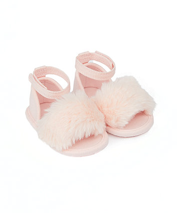 Mothercare Pink Faux-Fur Pram Sandals