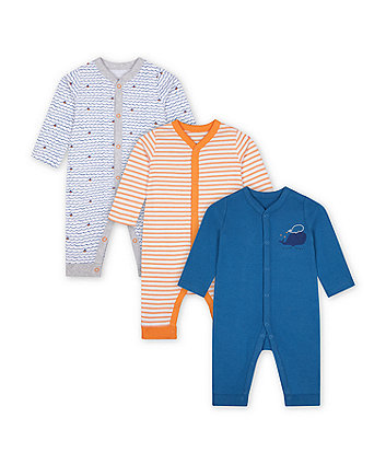 Mothercare Little Captain Sleepsuits - 3 Pack