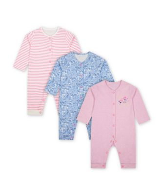 Mothercare Butterfly Footless Sleepsuits - 3 Pack