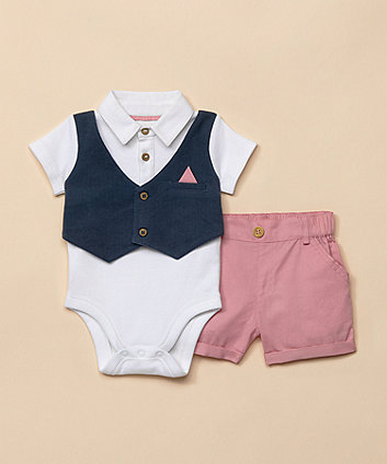 Mothercare Shorts And Waistcoat Bodysuit Set