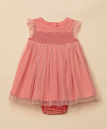 Mothercare Pink Dobby Dress And Knickers Set