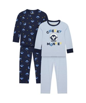 Mothercare Boys Cheeky Monkey Wide Leg Pyjamas - 2 Pack