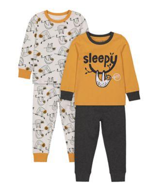 Mothercare Boys Sleep Sloth Pyjamas - 2 Pack