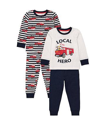 Mothercare Local Hero Lift-The-Flap Pyjamas - 2 Pack