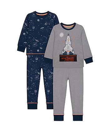 Mothercare Space Rocket Pyjamas - 2 Pack