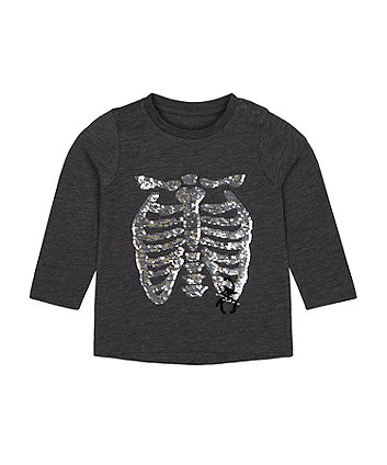 Mothercare Reversible-Sequin Skeleton Halloween T-Shirt