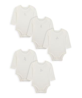 Mothercare Girls Bunny Long Sleeve Bodysuits - 5 Pack