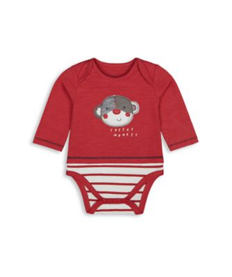 Mothercare Boys Monkey Mock Long Sleeve Bodysuit