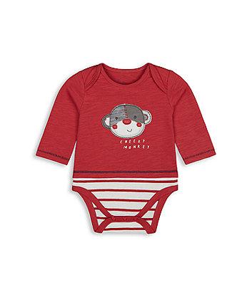 Mothercare Cheeky Monkey Mock T-Shirt Bodysuit