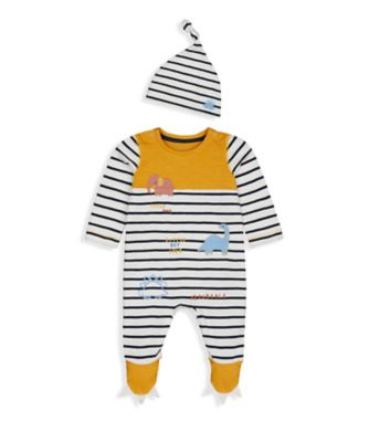 Mothercare Autumn Dino Stripe Dino All-In-One And Hat Set