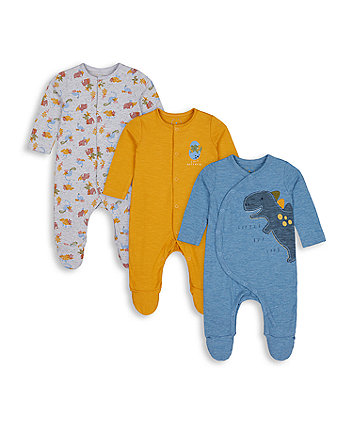 Mothercare Little Dinosaur Sleepsuits - 3 Pack