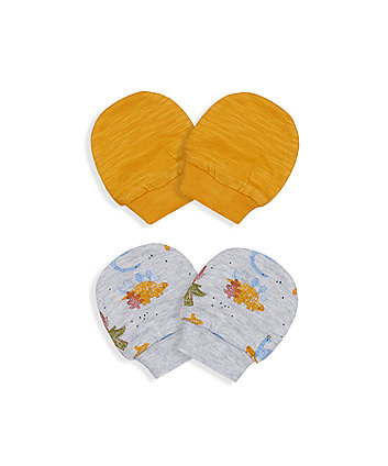 Mothercare Little Dinosaur Mitts - 2 Pack