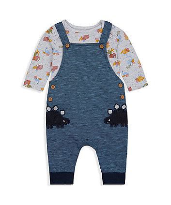 Mothercare Dinosaur Dungarees And Bodysuit Set