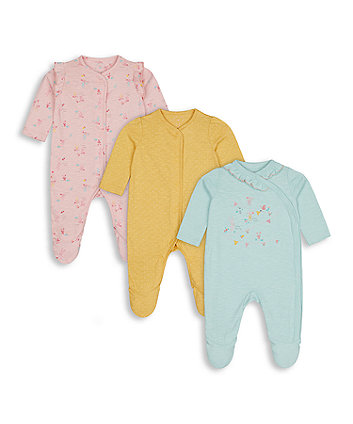 Mothercare Harvest Mouse Sleepsuits - 3 Pack
