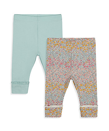 Mothercare Ombre Floral And Mint Leggings - 2 Pack