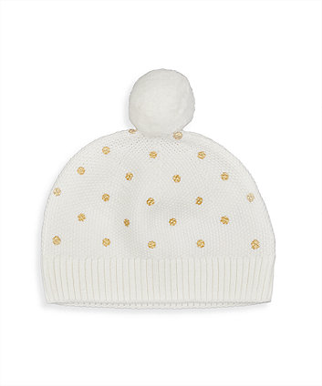 Mothercare Gold Spot Knitted Hat