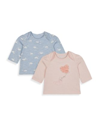 Mothercare Girls Little Swan Long Sleeve T-Shirt - 2 Pack