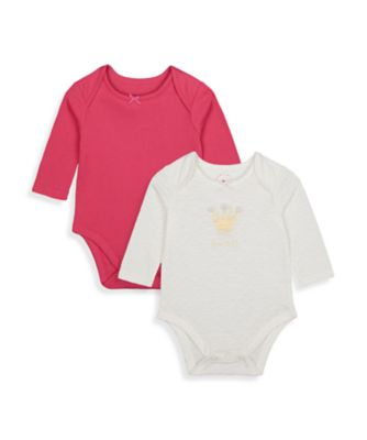 Mothercare Girls Little Swan Crown Long Sleeve Bodysuits - 2 Pack